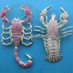 Costume Brooch in Scorpion Design with Rhinestones