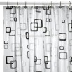 Geometric Square Black Vinyl Shower Curtain