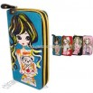 Girl print on zippered canvas wallet