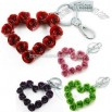 Heart Shaped Rose Keychain for Wedding and Lover