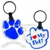 Light up paw print design keychain with white LED light