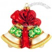 Personalized Gold Bells With Red & Green Glass Ornament