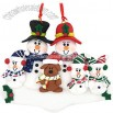 Personalized Snowman Family Of 5 With Dog Ornament