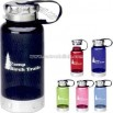 Plastic water bottle with stainless trim and lid 32 oz