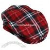 RED NAVY & WHITE PLAID SNAP FRONT IVY BERET CABBIE HAT