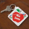 Red Apple Personalized Teacher Key Ring