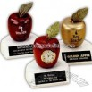 Red apple clock trophy