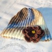 Sage - Brown and Blue Flowered Beanie