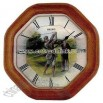 Wall clock with brown oak case