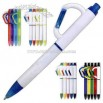 White ballpoint pen with carabiner clip