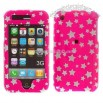 iPhone 3G Hot Pink Star Snap-on Protective Cover