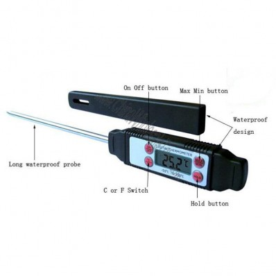 -50C to +300C Celsius Degree Needle Tip Digital Thermometer GR-201 w Pen