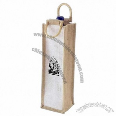 1 Bottle Jute Wine Tote Bag