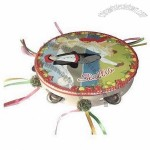 10-Inch Tambourine With 6 Bells, Dancing/Map Poster And Colored Ribbon