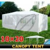 10 X 20 White Gazebo Party Tent Canopy with 6 Side Walls