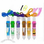 10 color multicolored ball point pen with lanyard