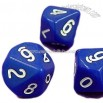 10-side Blue Opaque Dice with Numeral Engraved on Each Face