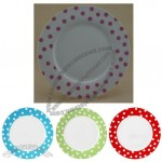10.5-inch New Bone China Flat Plate Set with Pink Dot Design, Ideal for Party and Tea Time