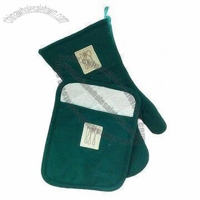 100% Cotton Cook or Leather Mitt and Pot Holder Set