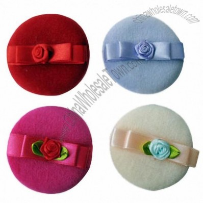 100% Cotton Handmade Puff with Butterfly Flower Shape Silk Ribbon