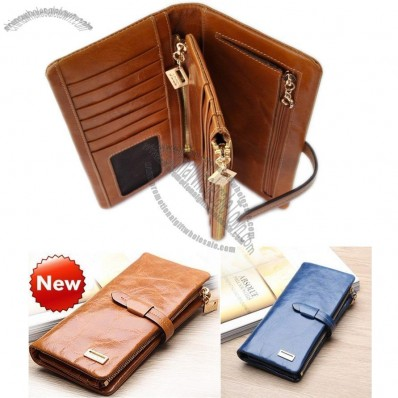 100% Genuine Leather Women's Long Section of the Multi-card Wallet Retro Purse