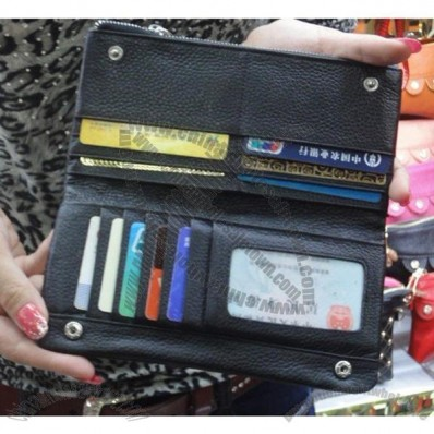 100% Genuine Leather Zippered Credit Card Wallets for women&men