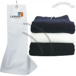 100% cotton velour finish golf towel with carabiner