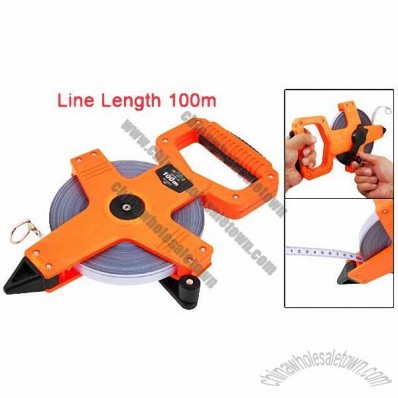 100m Reddish Orange Plastic Cover Steel Measuring Tape with A Drill