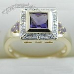 10k Yellow Gold Ring with Amethyst