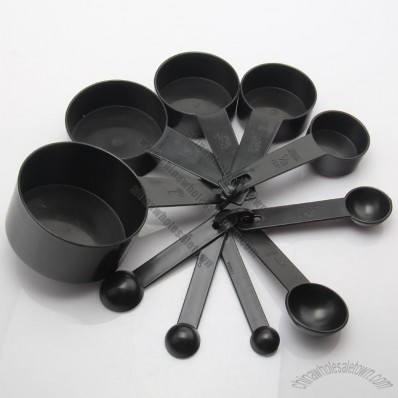 10pcs Black Plastic Measuring Spoon