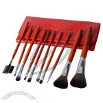 10pcs Professional Cosmetic Makeup Brush Set With Red Cosmetic Bag