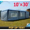 10'x30' Pop Up Gazebo Party Tent Canopy with 8 Side Walls
