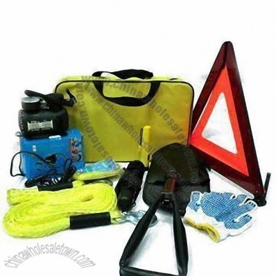 11-piece Roadside Emergency Kits in Stock, with 250psi Air Compressor and 200A Booster Cabel