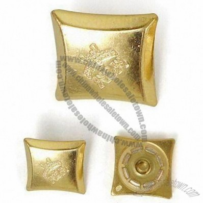 11mm Real Gold Square Snap Button