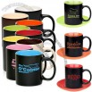 11oz Black Matte Coffee Mugs with Color Interior and Saucer