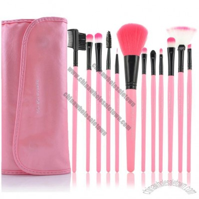 12 PCS Professional Makeup Brush Set + Pink Leather Case Make Up Brush