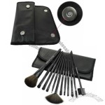 12 PCS Professional Makeup Brush Set with Black Leather Case