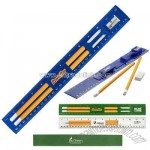 12 inch biodegradable plastic ruler holds 2 pencils and an eraser