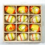 12pcs decorations easter eggs with hanging in wooden box