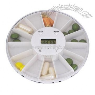 14-Compartment Pill Box with Time Display and Alarm Functioin