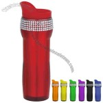 14 oz Double Wall Insulated Acrylic Coffee Travel Tumbler With Rhinestones Band
