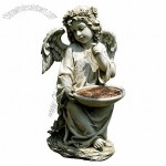 14.5-Inch Sitting Angel Holding Bird Feeder Garden Statue