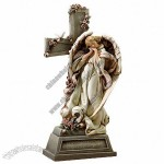 14.75-Inch Garden Angel with Cross