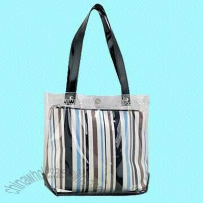 15-Inch Striped Transparent PVC Handbag