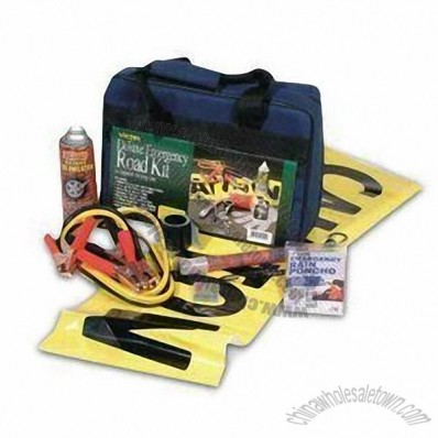 15 Pieces Deluxe Roadside Emergency Kit, Padded Carrying Case with 2 Zippered Pockets