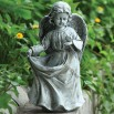 15.5-inch Angel Holding Dress Statue / Birdfeeder