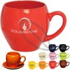 15oz Glossy Ceramic Mug with Saucer
