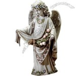 16-Inch Angel with Birds Garden Statue