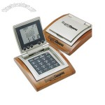 16 major cities world time calendar, alarm clock,calculator with wooden base