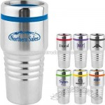 16 oz. stainless travel tumbler with debossed grip